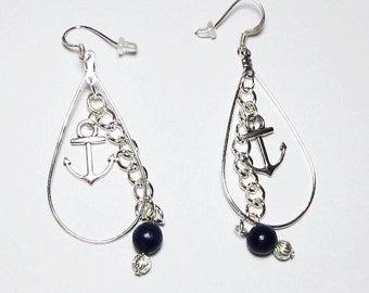 Nautical Anchor Earrings Navy Blue Riverstone or Red Riverstone Bead with Silver Anchor