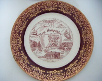 Antique New Hampshire Commemorative Porcelain Plate Gold Rimmed and Overlayed