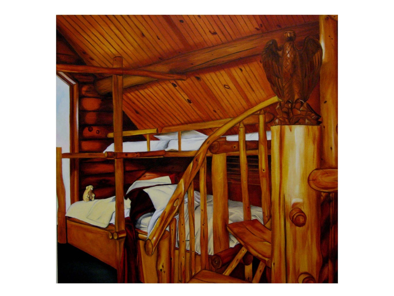 Oil Painting Of Log Cabin Interior True By PostulatedSpace On Etsy. Full resolution‎  photo, nominally Width 1500 Height 1125 pixels, photo with #7E2F06.