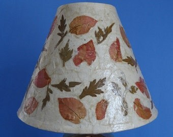 Botanical Lampshade - Small/Medium Decoupage Shade using Handmade Paper with Pink & Green Leaves
