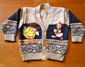 SALE Vintage Duck and Dog Cardigan (baby)