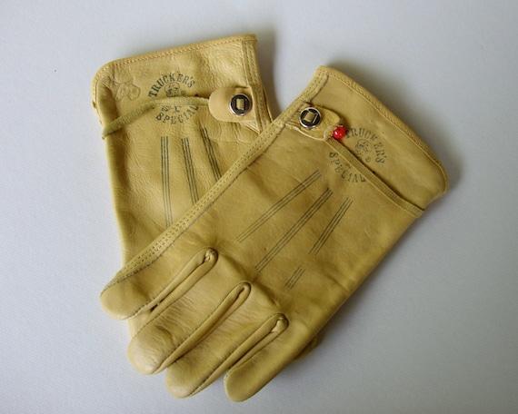 Vintage Trucker's Special Work Gloves / Wells Lamont / Mens Leather Gloves / White Mule Logo