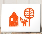 Fox Card Bright Orange / New Home / Celebration