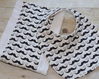 Mustache Two Piece Geekly Chic in Black and Off White Bib and Burp Pad Set