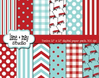 digital scrapbook papers - little red wagon in red and aqua - INSTANT DOWNLOAD