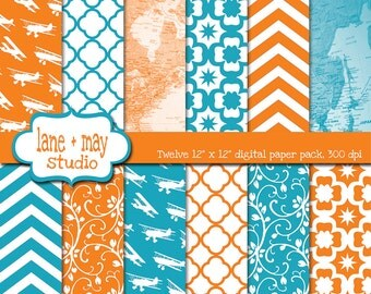 digital papers - orange and aqua vintage travel theme patterns - INSTANT DOWNLOAD