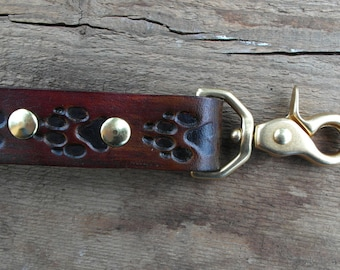 Leather Leash, Dog Leash, Engraved Pet Lead, Engraved with wolf prints