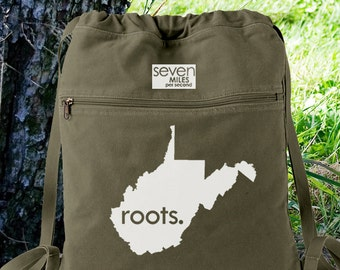 West Virginia WV  Roots Canvas Backpack Cinch Sack