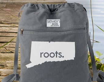 Connecticut CT Roots Canvas Backpack Cinch Sack