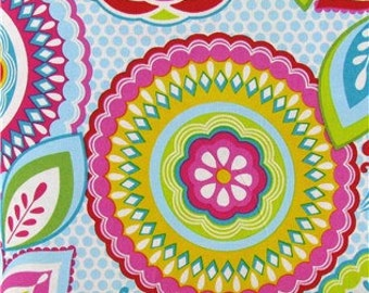 Cotton Fabric -  Turquoise Pink and Lime Medallion Cotton Fabric by the Yard - Quilt Fabric - Apparel Fabric - Home Decor Fabric