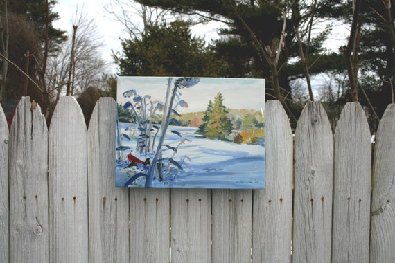 STUDIO EVENT Cardinal & Winter Sunflowers,  original small oil painting, soft colors Maine artist Adrienne Kernan La Vallee