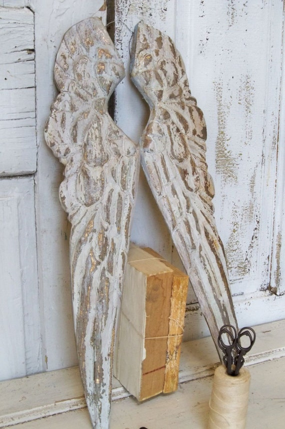 Wooden Carved Wings Barn White Touches Of Gray Pewter French