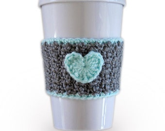 Grey and Mint Crochet Heart Coffee Cozy