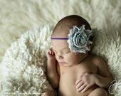 Ivory & Purple Floral Shabby Chic Chiffon Headband-Baby Headband, Newborn Headband, Toddler Headband