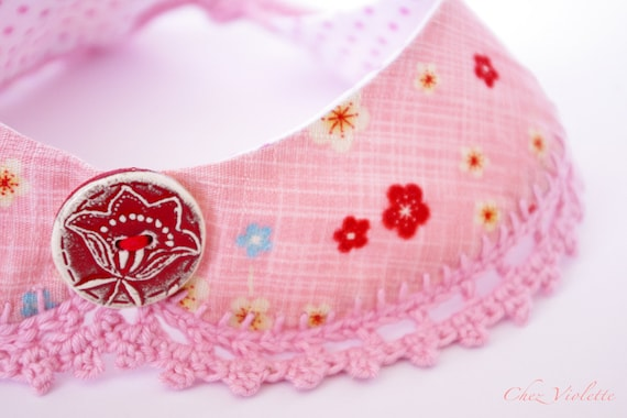 Peter Pan Collar Pink crochet Japanese Fabric Necklace Ceramic Button