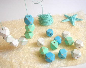 Shabby Sea Colors Geometric  Wood Beads,Old Look Hand Painted Geometric Beads,Do it Yourself Geometric necklace
