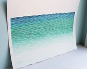 Seascape II, Original Watercolor Painting, Turquoise and Blue Landscape