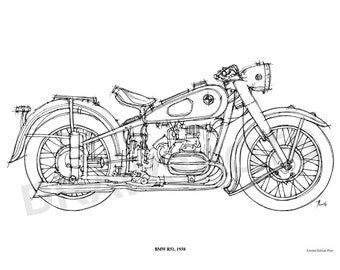 BMW R51 1938 -Original Handmade Drawing Print, 11.5x16 in. (29x41 cm), Limited Edition print, cool gift