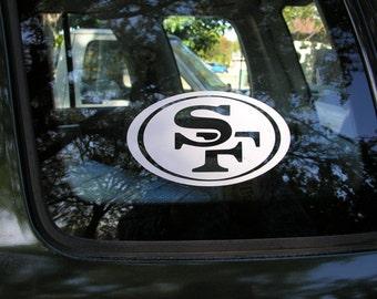 "San Francisco 49ers Cut Vinyl Sticker  3.5"" X 6"""