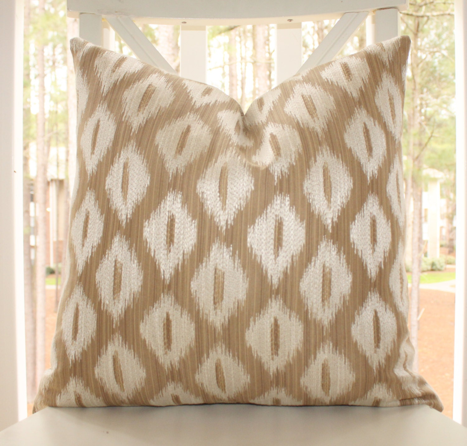 Throw Pillows Tan : Designer Taupe Beige Ikat Pillow Tan Ikat Diamond Geometric