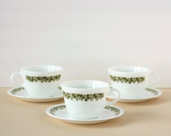 Pyrex Cups and Saucers - Set of 3