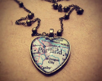 I Heart Portland Map Necklace 28in chain