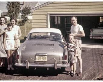 Vintage 1960s Image, Awkward Family Photo 12x8, fashion, Carmen Ghia, Suburbia