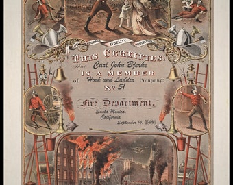 Firefighter Certificate Vintage  1800s Reproduction Personalized, Firefighter Art, Firefighter Decor, Baby's Room 8x10