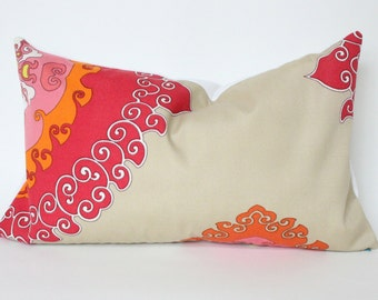 Red, Orange and Pink Designer Trina Turk Outdoor Lumbar Pillow Cover in Super Paradise Punch