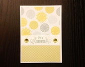 it's a SHOWER card - embellished yellow and grey polka dots