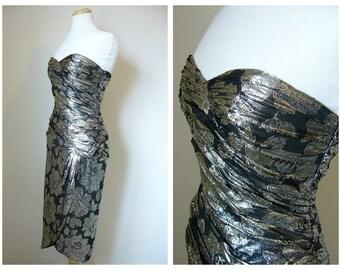 Vintage LUREX STRAPLESS BUSTIER Dress in Metallic Floral Print/size Small-Medium