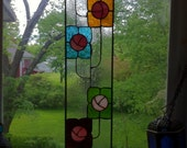 Art Nouveau Stained Glass Skinny Panel Featuring Traditional Rosebud Tiles Design