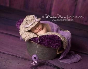 Crochet Hat//Newborn Hat//Newborn Props//Newborn Girl Hat//Fishing Set//Crocheted Set//Crochet Hat//Fisherman Set//Photography Props