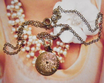 """1 Vintage Goldplated 20mm Dearest Mother Pendant with Rhinestone on 18"""" Chain"""