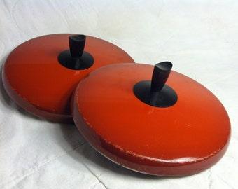 VINTAGE Burnt Orange POT LIDS 1970s So Groovy!
