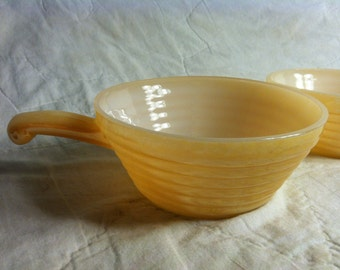 PAIR of Beautiful Fire King Peach LUSTREWARE Milk Glass Soup BOWLS Set of Two