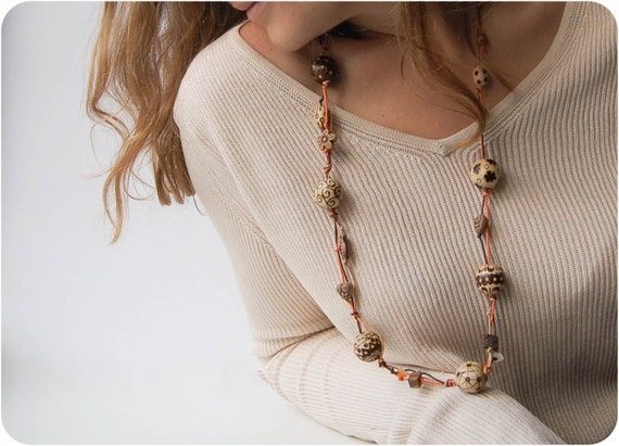 Orange Bohemian Wooden Necklace - Chunky Wood Bead Necklace - Pyrography Eco Jewelry - Boho Wood Jewelry