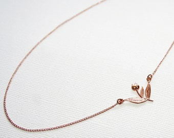 Garden Tulip Necklace in Sterling Silver: OFF-CENTER
