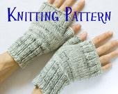 Instant Download PDF Knitting Pattern - Fingerless Mittens, Knit Fingerless Gloves, Wrist Warmers, Hand Warmers