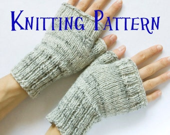 Instant Download PDF Knitting Pattern - Fingerless Mittens, Knit Fingerless Gloves, Wrist Warmers, Hand Warmers