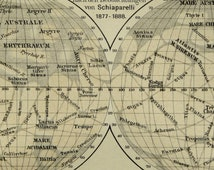 1897 Antique map of MARS PLANET. Astronomy. 119 years old plate