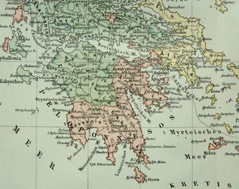 1894 Antique map of ANCIENT GREECE. 123 years old chart.