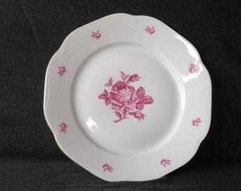Large porcelain plate Vintage cake plate Largp Porcelainp latter Pate Czechoslovakia Cake serving Vintage dinnerware Rose plate Rose platter