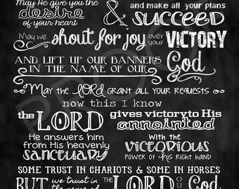Scripture Art - Psalm 20 Chalkboard Style