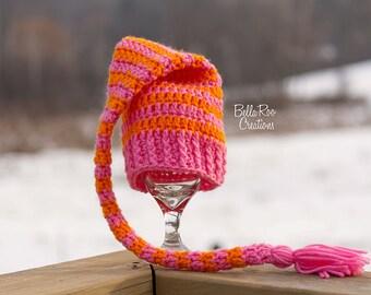 Crochet Elf Hat    Pink and Orange