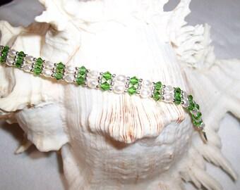 Green And White Skinny Bracelet