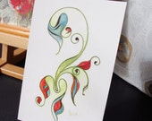 "Abstract Sea Horse - giclee art print 4""x6"""