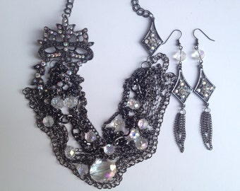 Black Multistrand Statement Necklace-Rhinestone Statement Necklace- Vintage- One of a Kind Original- Designs by Stalinda