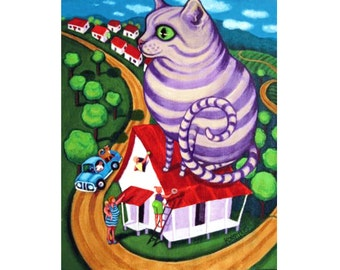 Fat Cat Folk Art Funny Whimsical Colorful Action 8x10 Glicee Print from Original Painting - Cat on a Red Tin Roof - Korpita ebsq