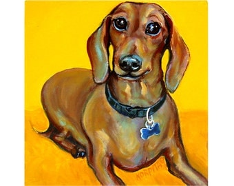 Red Dachshund - Funny Smiling Red Weenie Dog 8x8 Glicee Print from original pet portrait painting - Dachshund Smiles - Korpita ebsq